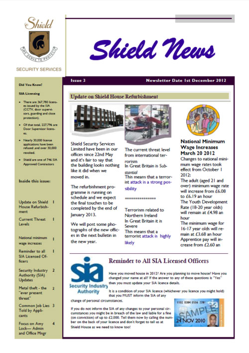 Dec 2012 Newsletter Cover