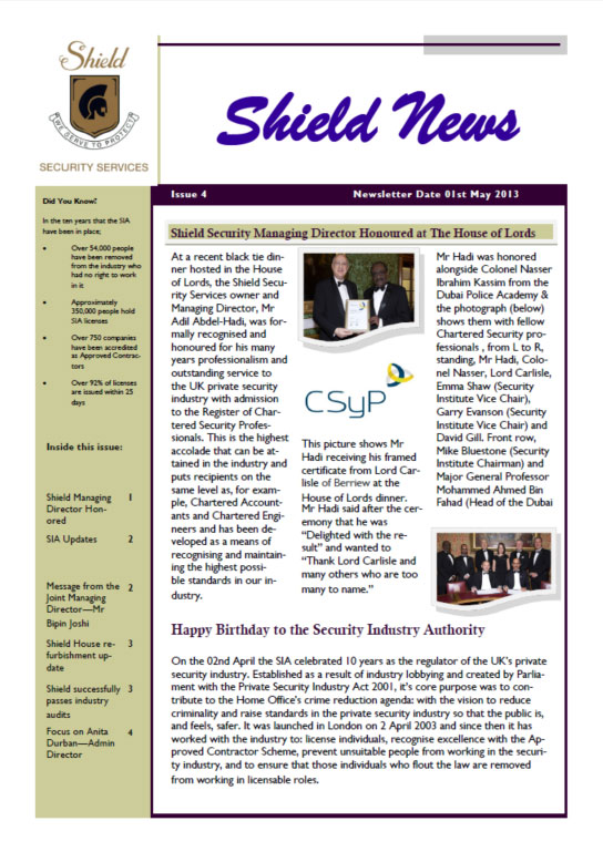 May 2013 Newsletter Cover