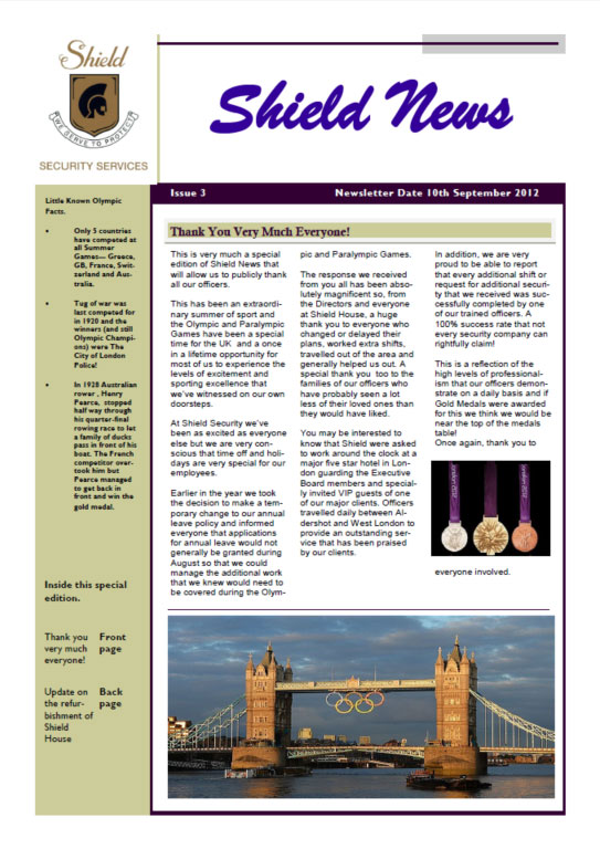 September 2012 Newsletter Cover
